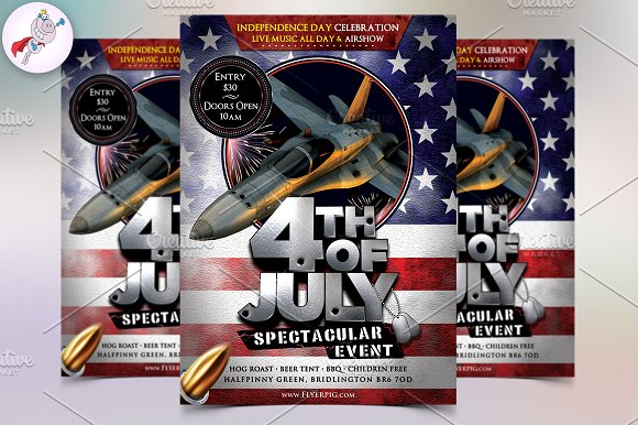 4th of july flyer template flyer templates creative market