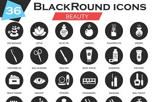 36 Beauty cosmetics circle icons set