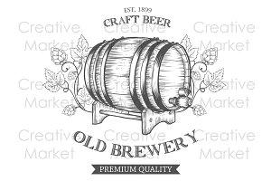 Alcohol barrel hand drawn