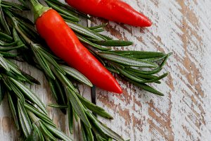 red hot peppers and rosemary