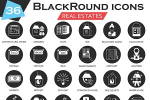 36 Real estates icons set.