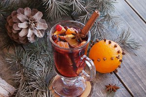 cup of hot mulled wine for Christmas