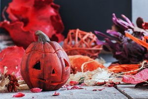 pumpkin on a background of dry plants and candles