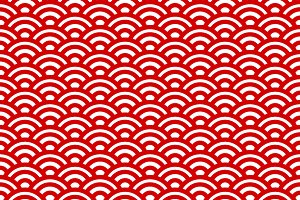 Red and white waves,japanese pattern