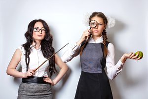 Teacher with pointer. Schoolgirl