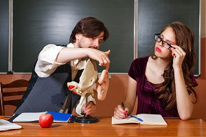 Teacher explains structure of ear