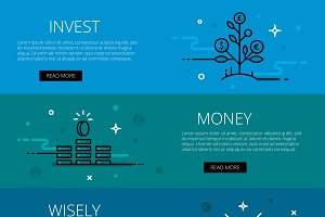 Invest money wisely line banner set