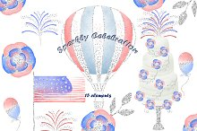 4th of july watercolor elements