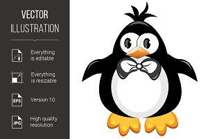 Penguin cartoon bird. Boy.