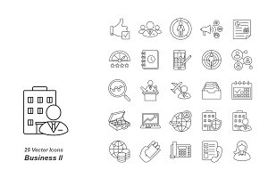 Business II outlines vector icons