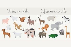 Cute african & farm animals set.