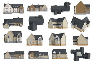 Set houses facade, isolated