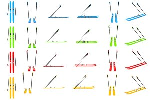 Set skiing, ski poles, isolated