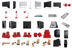 Furniture set for working, isolated