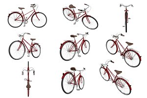 Set classic bikes, isolated