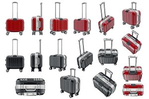 Set luggage travel, isolated