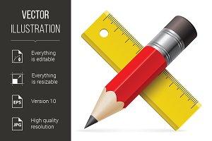 Pencil, ruler