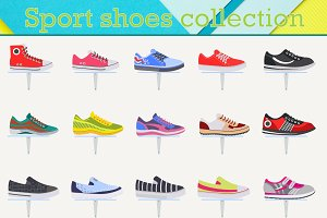 Sport shoes sneakers collection.