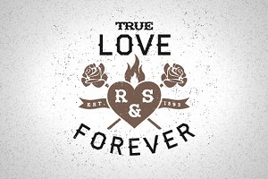 Vintage Label True Love Forever