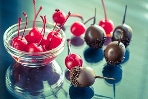 Chocolate and cocktail cherries