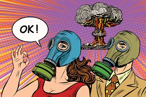 Nuclear war retro pop art