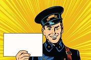 Cheerful retro postman pop art