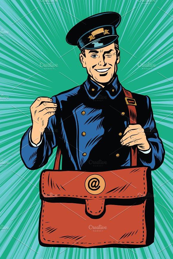 retro postman in blue uniform