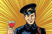 postman greeting glass of wine