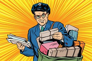 retro oldster postman pop art