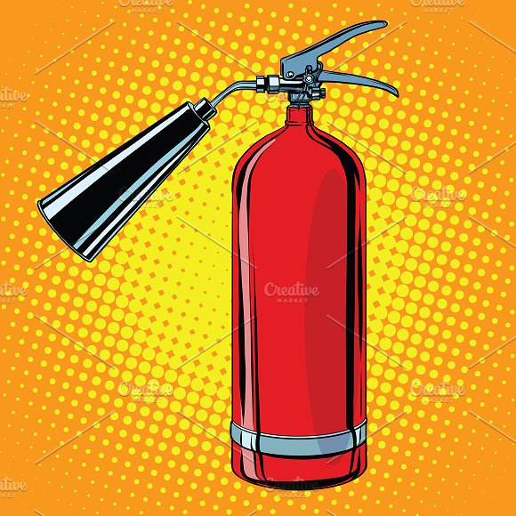 realistic red fire extinguisher