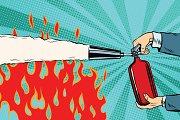 Extinguish flames fire extinguisher