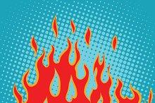 Fire red pop art