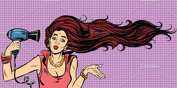 Young female drying hair hairdryer in Illustrations
