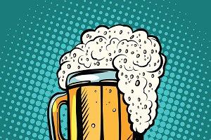 foamy mug of beer pop art retro