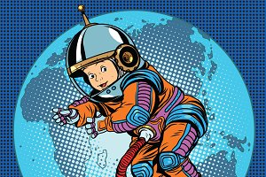 Astronaut baby Earth space