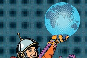 Retro astronaut planet Earth