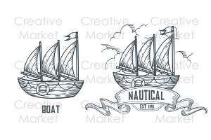 Boat, ship hand drawn labels