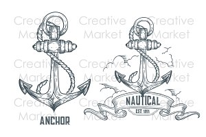Anchor hand drawn vintage labels