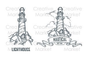 Lighthouse hand drawn retro labels