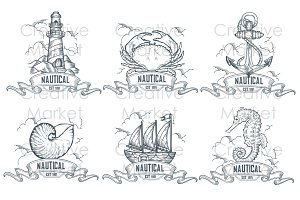 Nautical hand drawn retro labels set