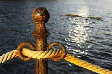 vintage rope on rustic bollard