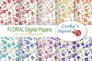 Digital Paper - Flower Patterns