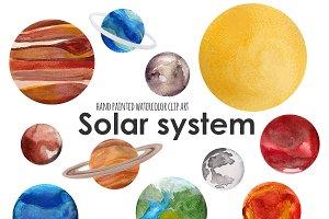 Solar system watercolor clip art