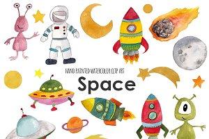 Space watercolor clip art