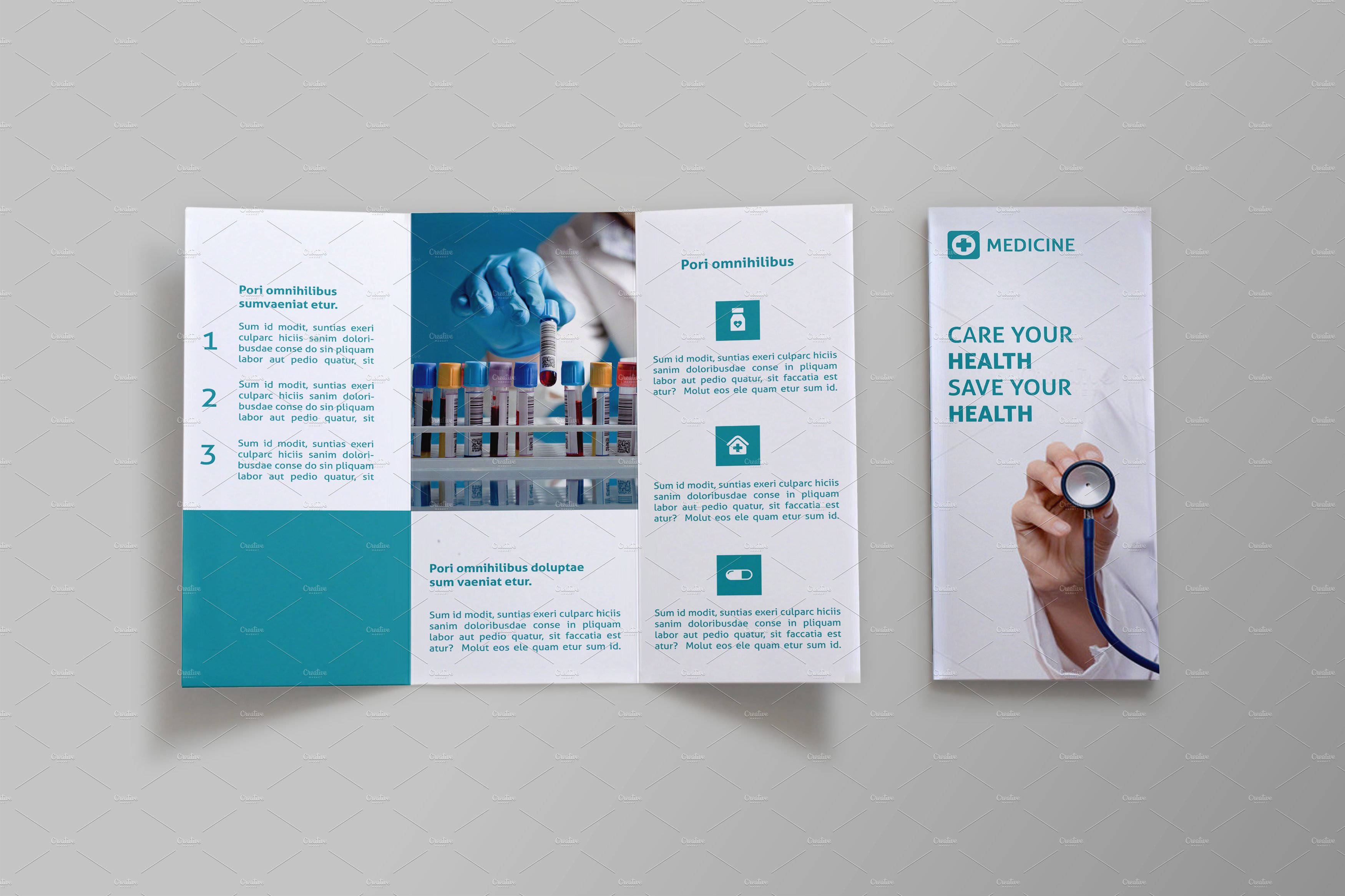 Medicine Trifold Brochure SB Brochure Templates Creative Market – Tri Fold Brochure