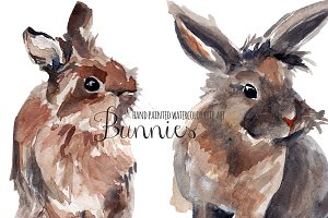 Bunnies watercolor clip art