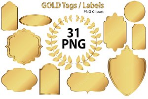 Gold Clip Art - Tags / Labels