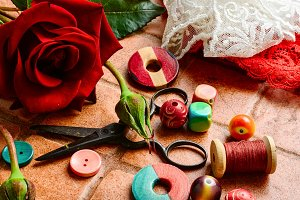 Scissors,beads and thread
