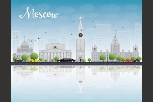 Moscow Skyline with Gray Buildings
