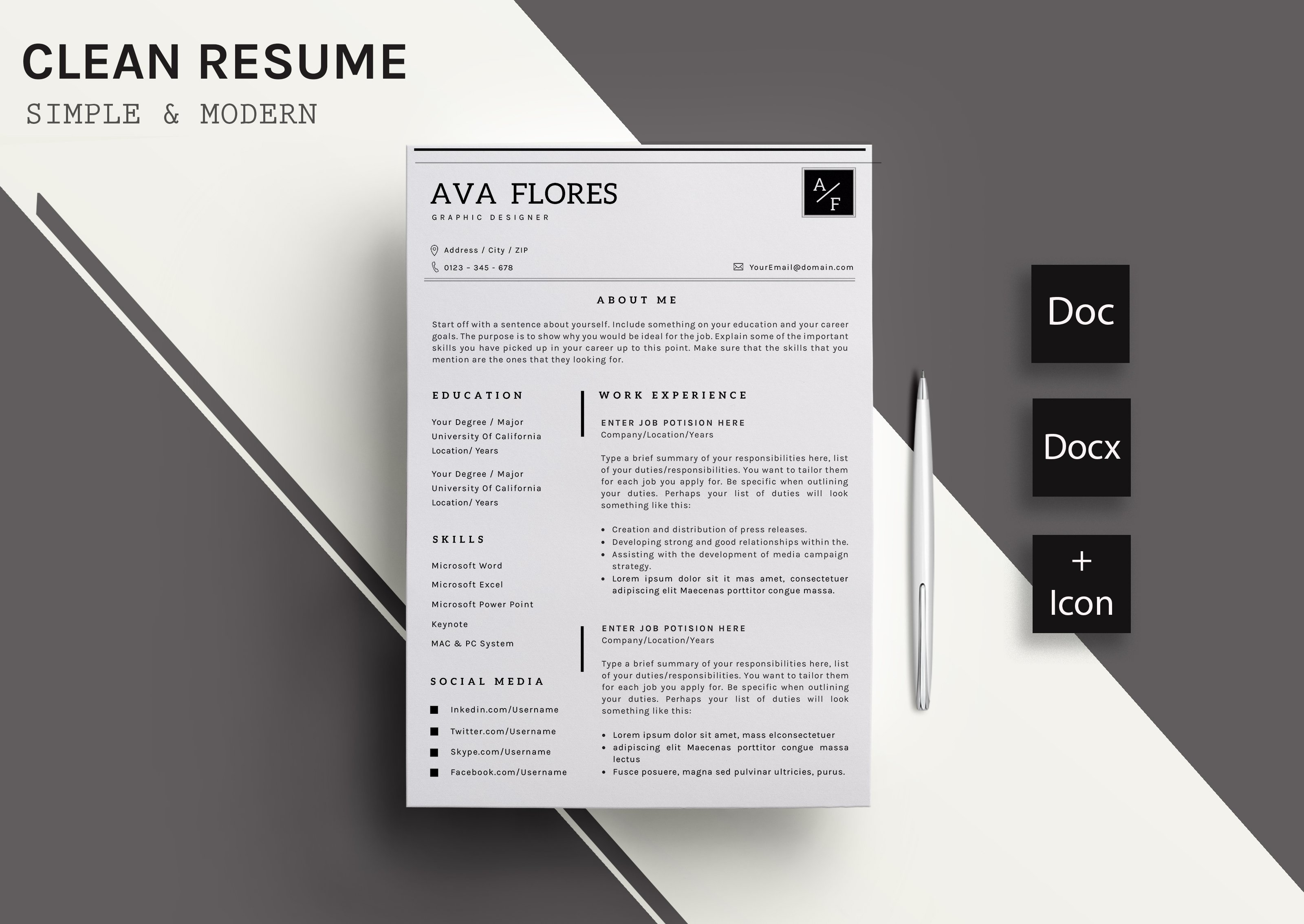 Clear Resume/CV Template-11 ~ Resume Templates ~ Creative Market